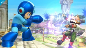 Mega Man fighting Fox Mcloud in Super Smash Bros for the WiiU and 3DS