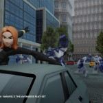 Black Widow riding the roof of a car