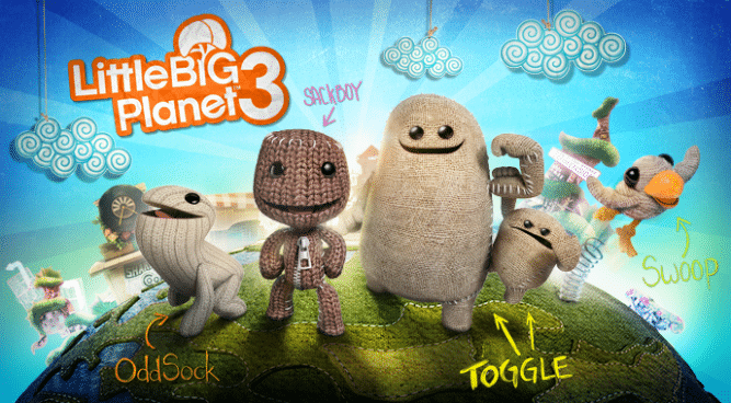 The new heroes of Little Big Planet 3! Oddsock, Sackboy, Toggle, and Swoop from left to right.