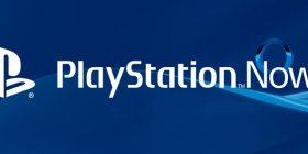 PlayStation Now logo on blue Sony background