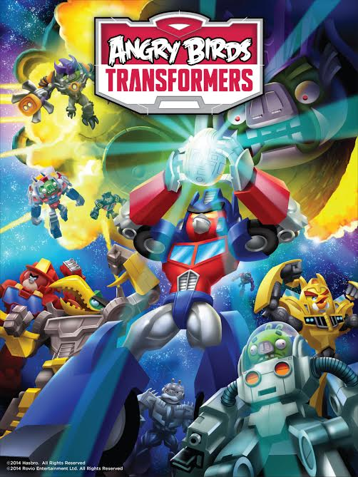Angry birds transformers posed similar to 1987 Transformers: The Movie Poster