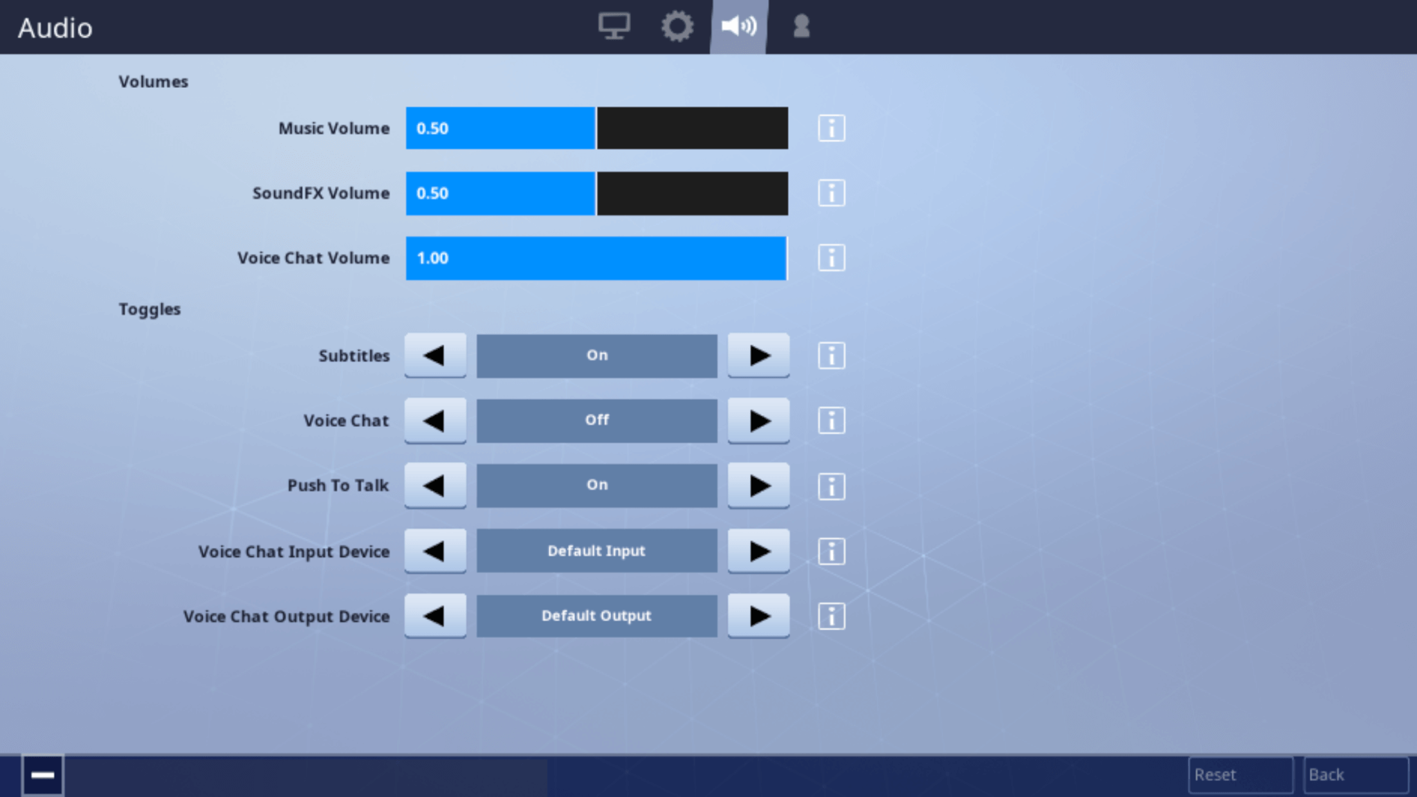 select the voice chat option and toggle it on or off by tapping the arrows - how to chat in fortnite mobile