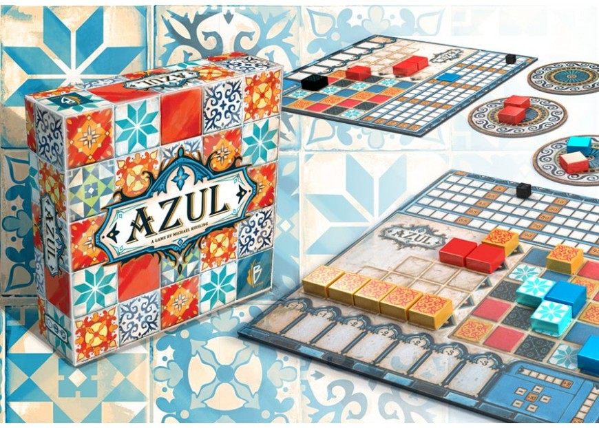 An imagine of the board game box and components for Azul from Plan B Games