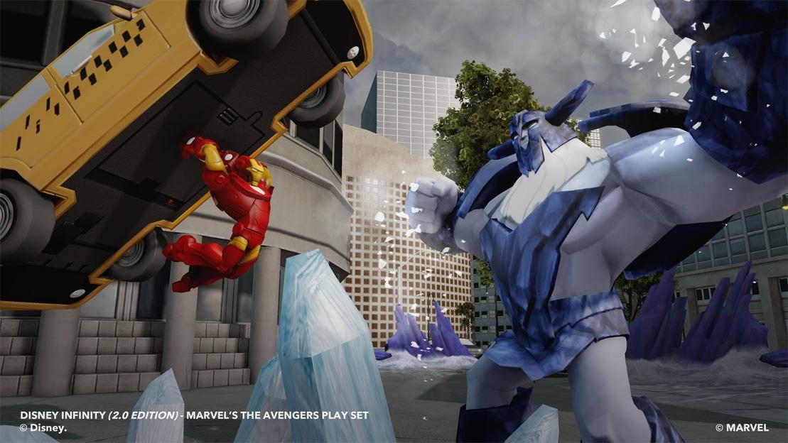 Iron Man slamming a car