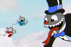 Cuphead and Mugman flying planes in Cuphead by Studio MDHR